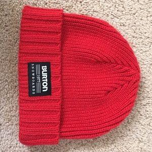 Burton Snowboards red knit beanie